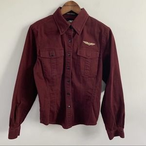 Harley Davidson | Women's Maroon Button Down Shirt
